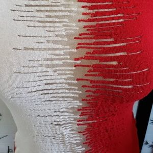 Tops - Red & White Knit Tank Top With Sheer Netted Center